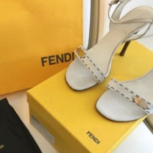 Fendi Sandals Shoes High Heels White Leather 6,5